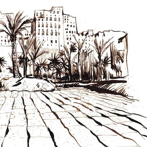 """Image of Original Painting - """"Vue de Shibam - Yémen"""" - 20x27,5 cm"""