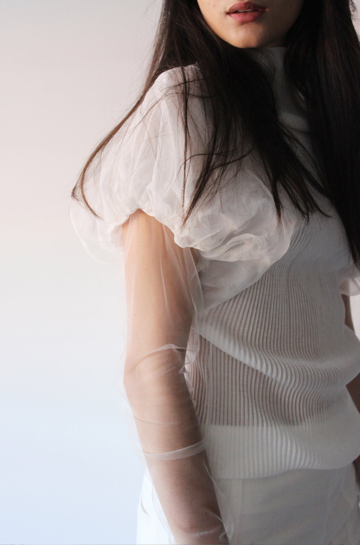 Pleated jersey ballon sleeve top - Off White