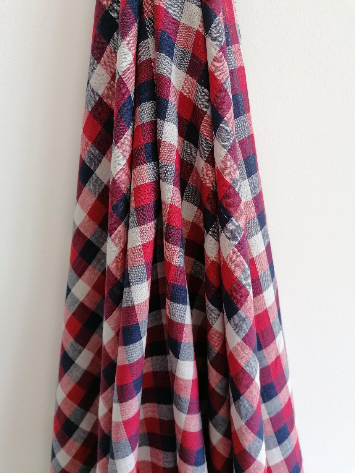 Image of Namaste fabric Khadi carreaux bleus blancs rouges