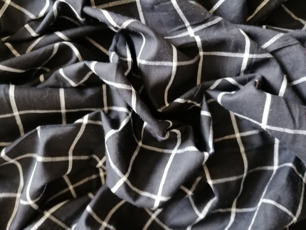 Image of Namaste fabric Khadi noir carreaux blancs