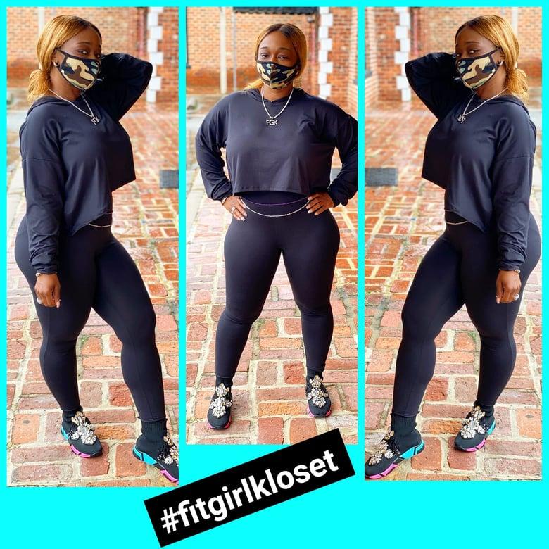 Image of Black 2pc Hoodie Leggings Set