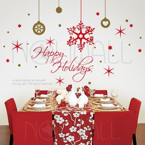 Christmas Wall Decals Removable.Holiday Christmas Wall Decals Removable Art Holiday Season