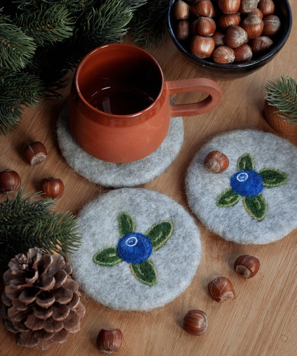 Image of WOOL COASTER Set - Blueberry