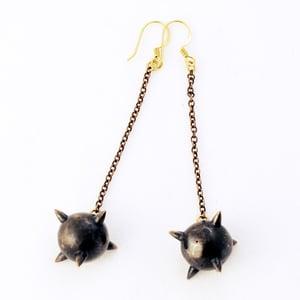 Image of Oxidized Long Mace Earrings