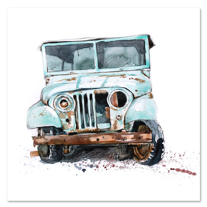 "Image of Original Painting - ""Vieille voiture à Zanzibar"" - 20x20 cm"