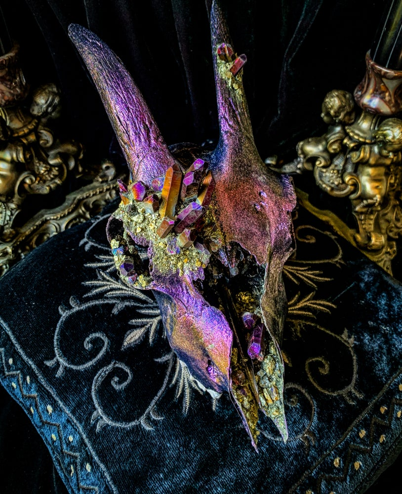 Image of Purple Gold Titanium Quartz & Chalcopyrite - Goat Skull