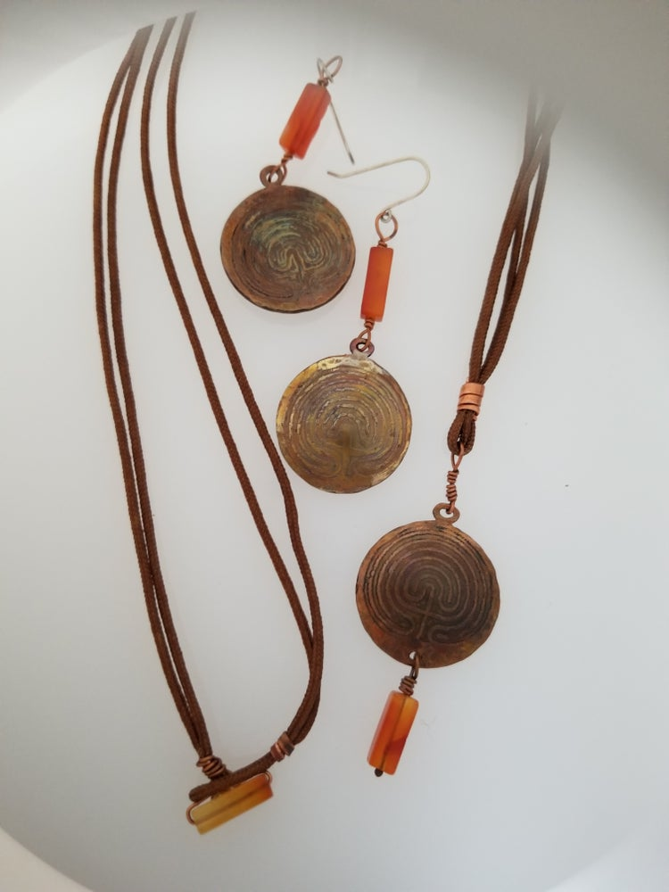 Labyrinth on Copper Necklace and Earrings