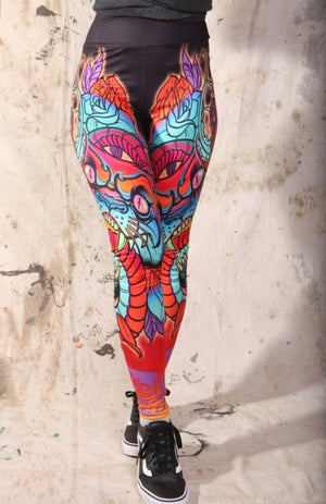 Image of Slowdown Crazy Panther Snake and Roses Leggings