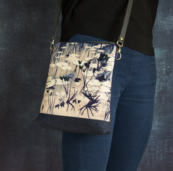 Image of Velvet waterlily shoulder bag with cross-body leather strap