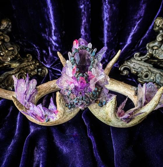 Image of Purple Mica Butterfly Aura Quartz Clear Quartz  & Chalcopyrite - Antler Crown