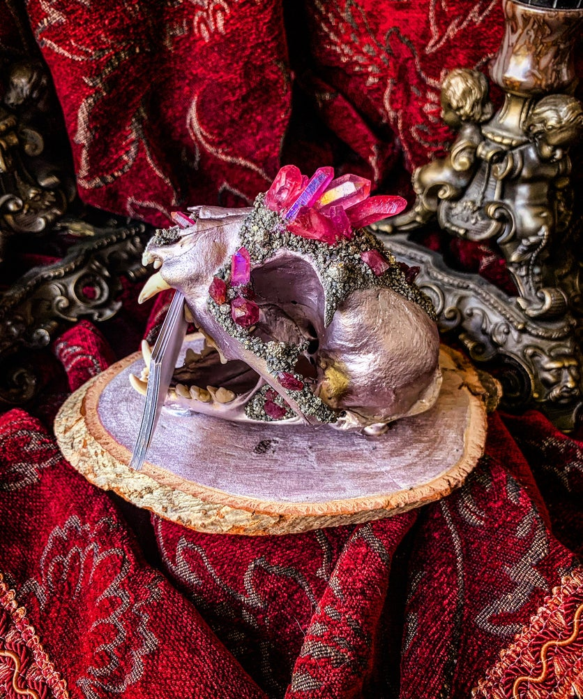 Image of Rose Gold, Pink Halo Aura Quartz & Pink Tourmaline - Bobcat Skull Bus