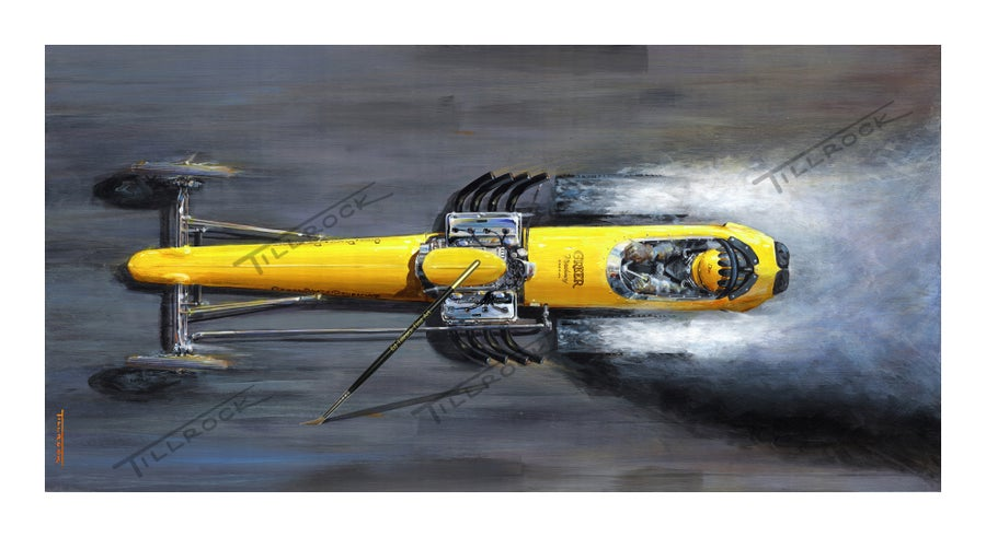 "Image of The Greer - Black - Prudhomme Dragster  Color 13""x19"" Print"