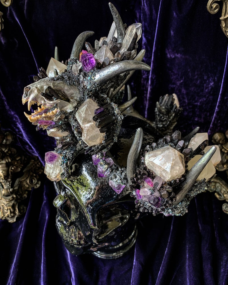 Image of Black Tourmaline, Smokey Quartz, Mink Skull - Antler Crown
