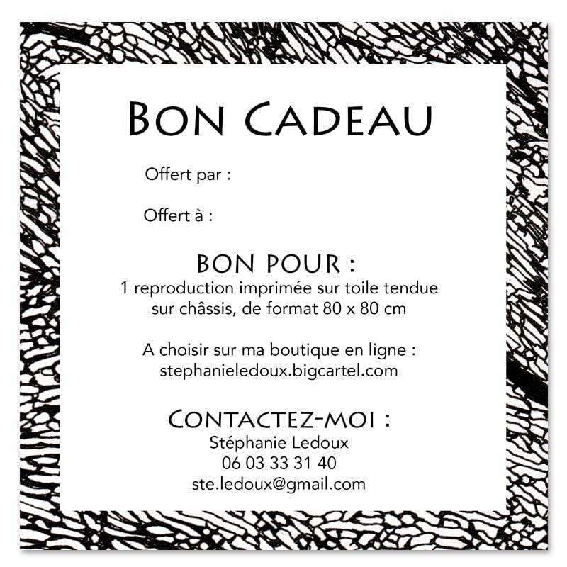 """Image of Bon cadeau -  """"Repro sur toile 80x80 cm"""""""