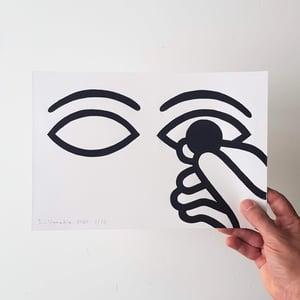 Image of Limited edition linocut print 30 x 20 cm 'Tenir à l'Oeil'