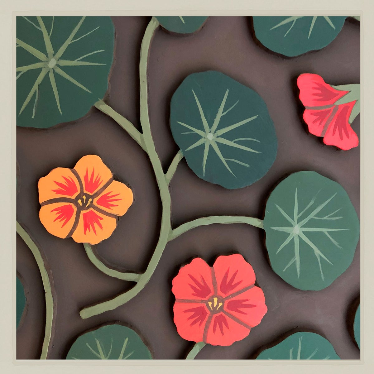 Image of Nasturtium Panel Painting