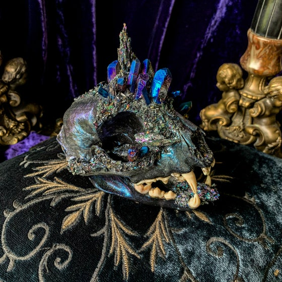 Image of Blue Purple Titanium Quartz & Carborundum - Bobcat Skull