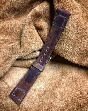 Image of Marble #8 Horween Shell Cordovan Box stitch unlined strap