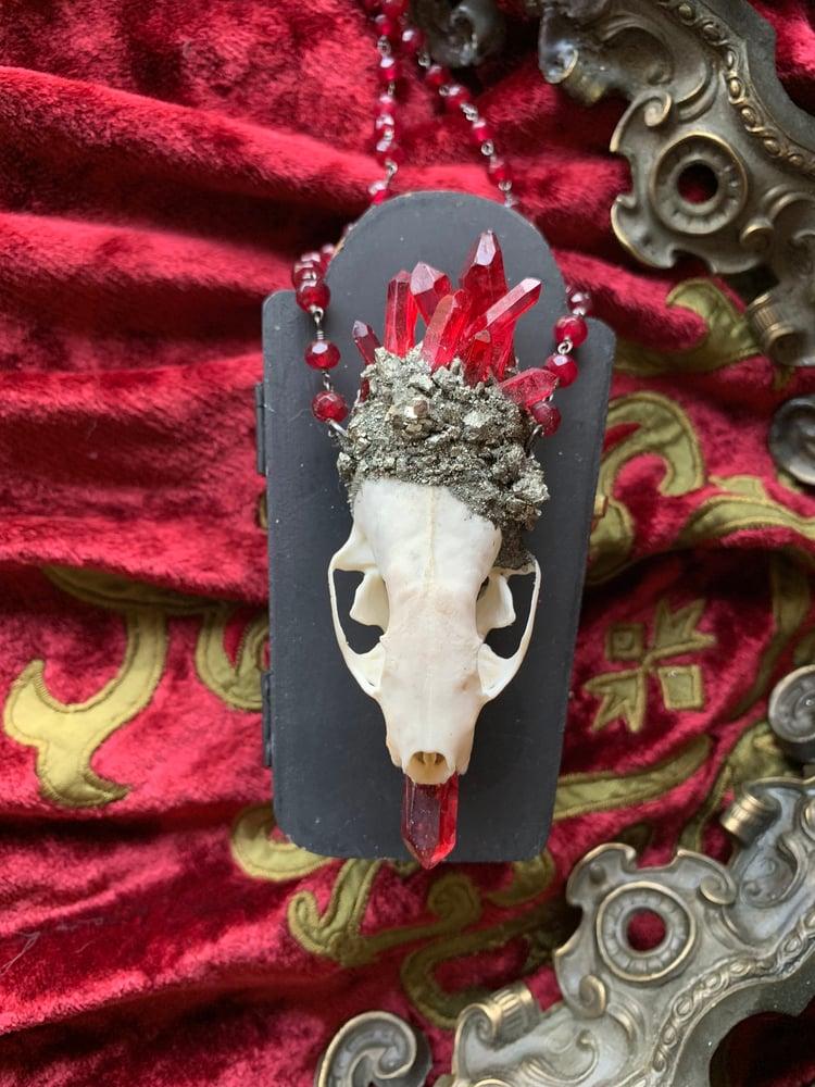 Image of Red Quartz - Mink Skull Necklace\Pendant