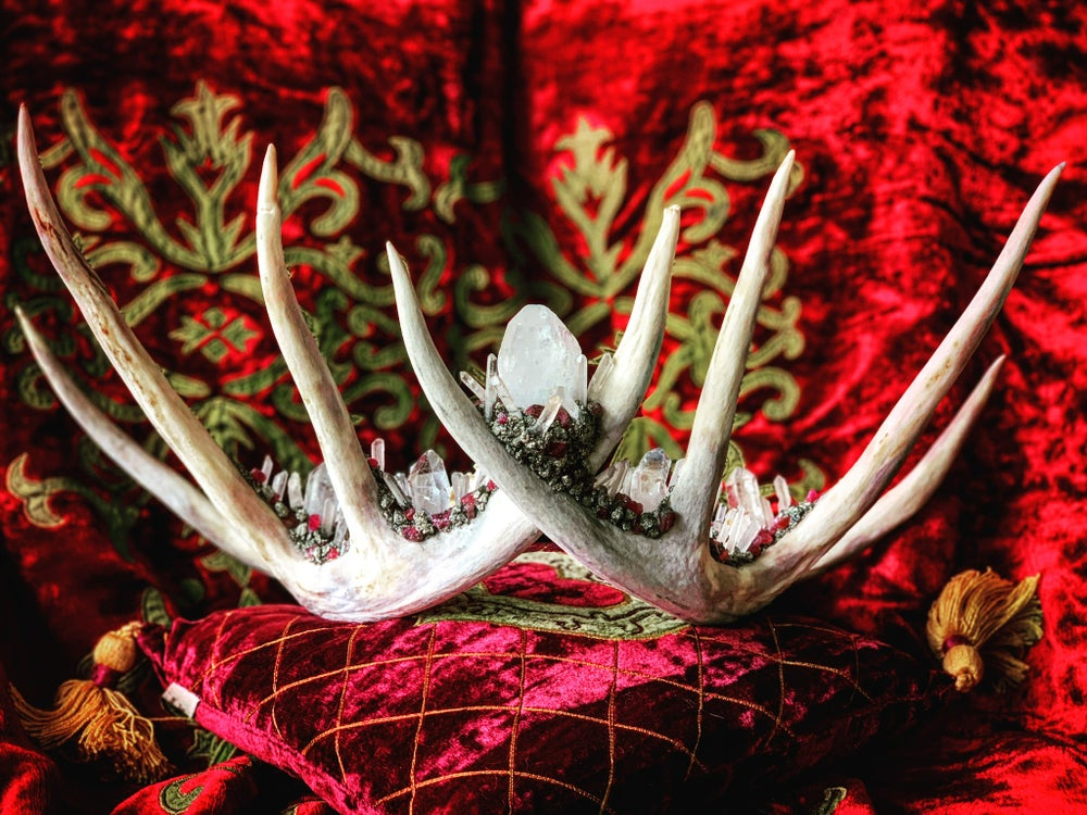 Image of Clear Quartz and Pink Tourmaline - Antler Crown