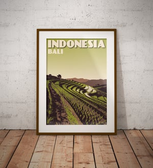Image of Vintage poster Indonesia - Bali - Rice Terrace - Paddy field - Green - Fine Art Print