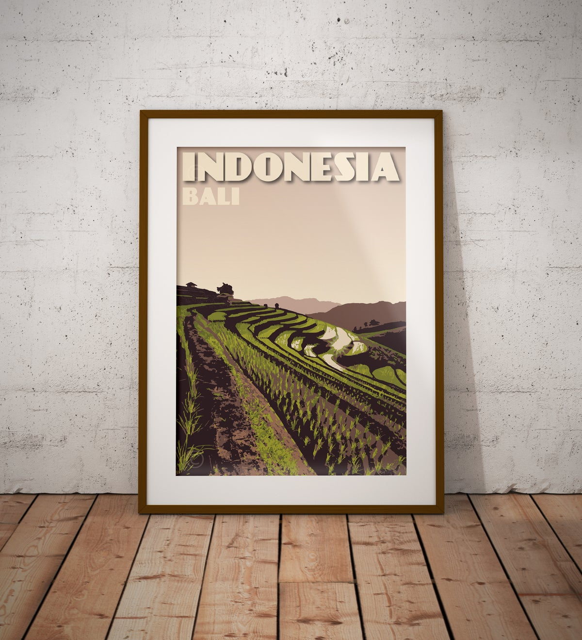 Image of Vintage poster Indonesia - Bali - Rice Terrace - Paddy field - Clay - Fine Art Print