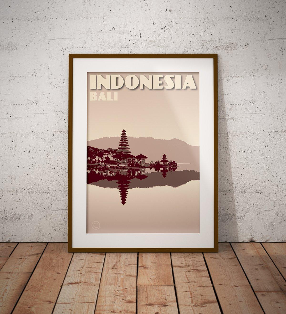 Image of Vintage poster Indonesia - Bali - Pura Ulun Danu Bratan - Clay - Fine Art Print