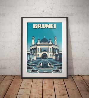 Image of Vintage poster Brunei - Jame' Asr Hassanil Bolkiah Mosque - Bandar Seri Begawan- Bl - Fine Art Print