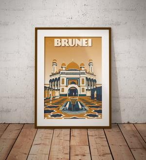 Image of Vintage poster Brunei - Jame' Asr Hassanil Bolkiah Mosque - Bandar Seri Begawan- Ye - Fine Art Print
