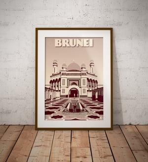 Image of Vintage poster Brunei - Jame' Asr Hassanil Bolkiah Mosque - Bandar Seri Begawan- Cl - Fine Art Print