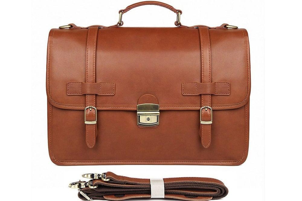 Image of Handmade Full Grain Leather Briefcase Man Laptop Bag JMD7397