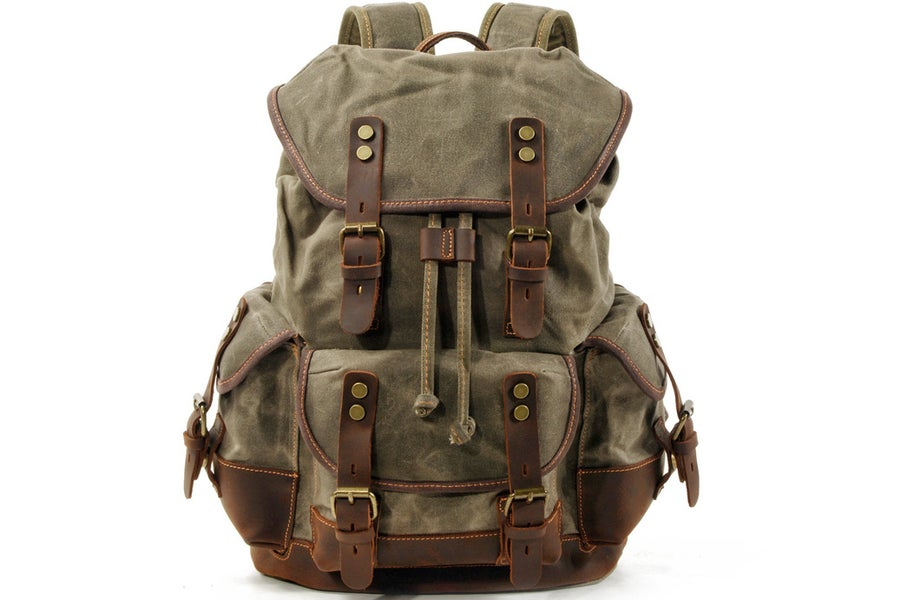 Image of Waxed Canvas Backpack Rucksack Hiking Travel Backpack MC9508