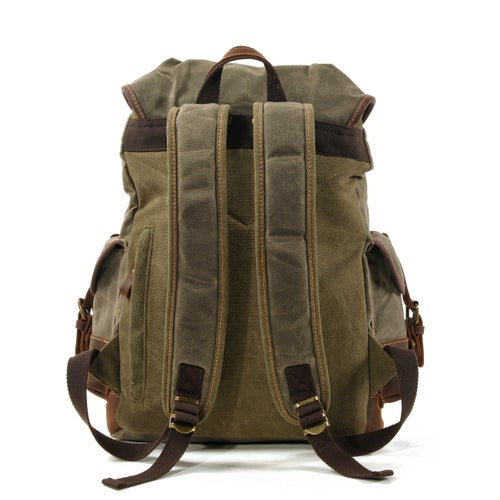 Image of Waxed Canvas Backpack Rucksack Hiking Travel Backpack MC9508
