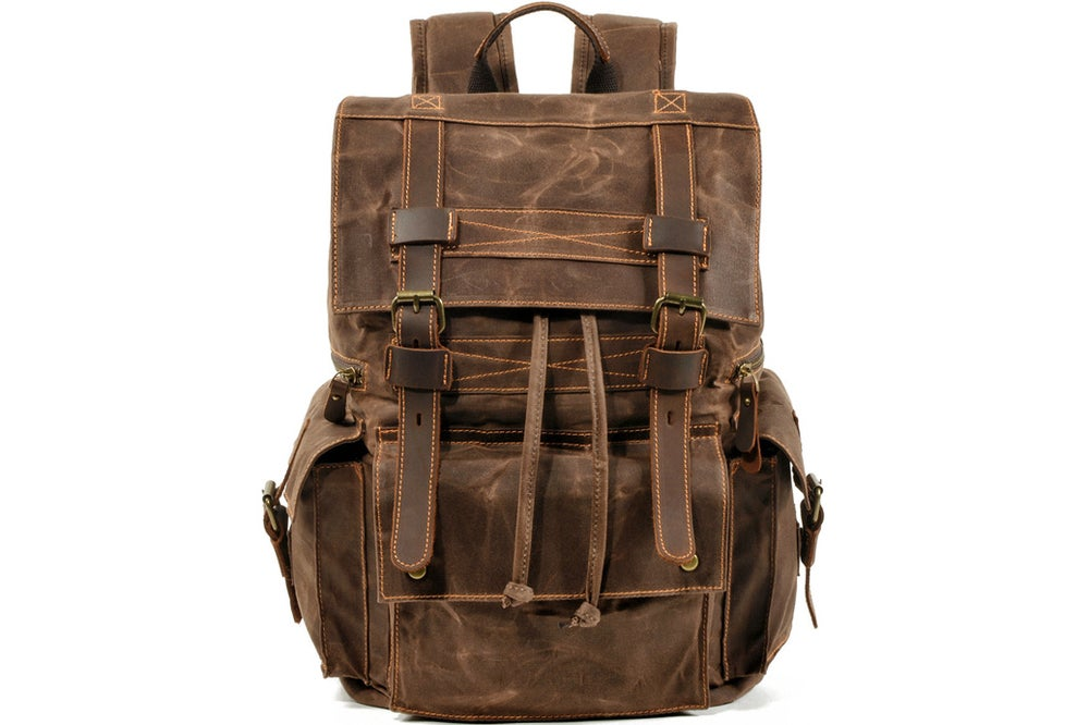 Image of Waterproof Waxed Canvas Backpack Rucksack Travel Backpack MC9504