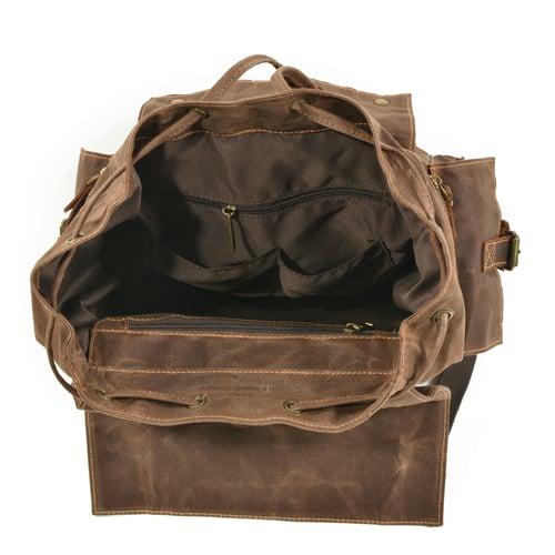 Image of Waterproof Waxed Canvas Backpack Rucksack Travel Backpack MC9504