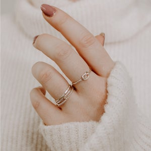 Image of Set of 2 Square Silver Stacking Rings