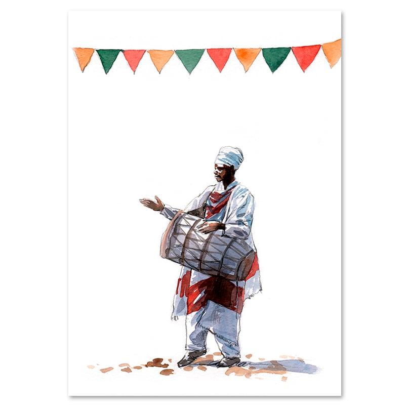 "Image of Original Painting - ""Processions religieuses de Lalibela"" - 21x30 cm"
