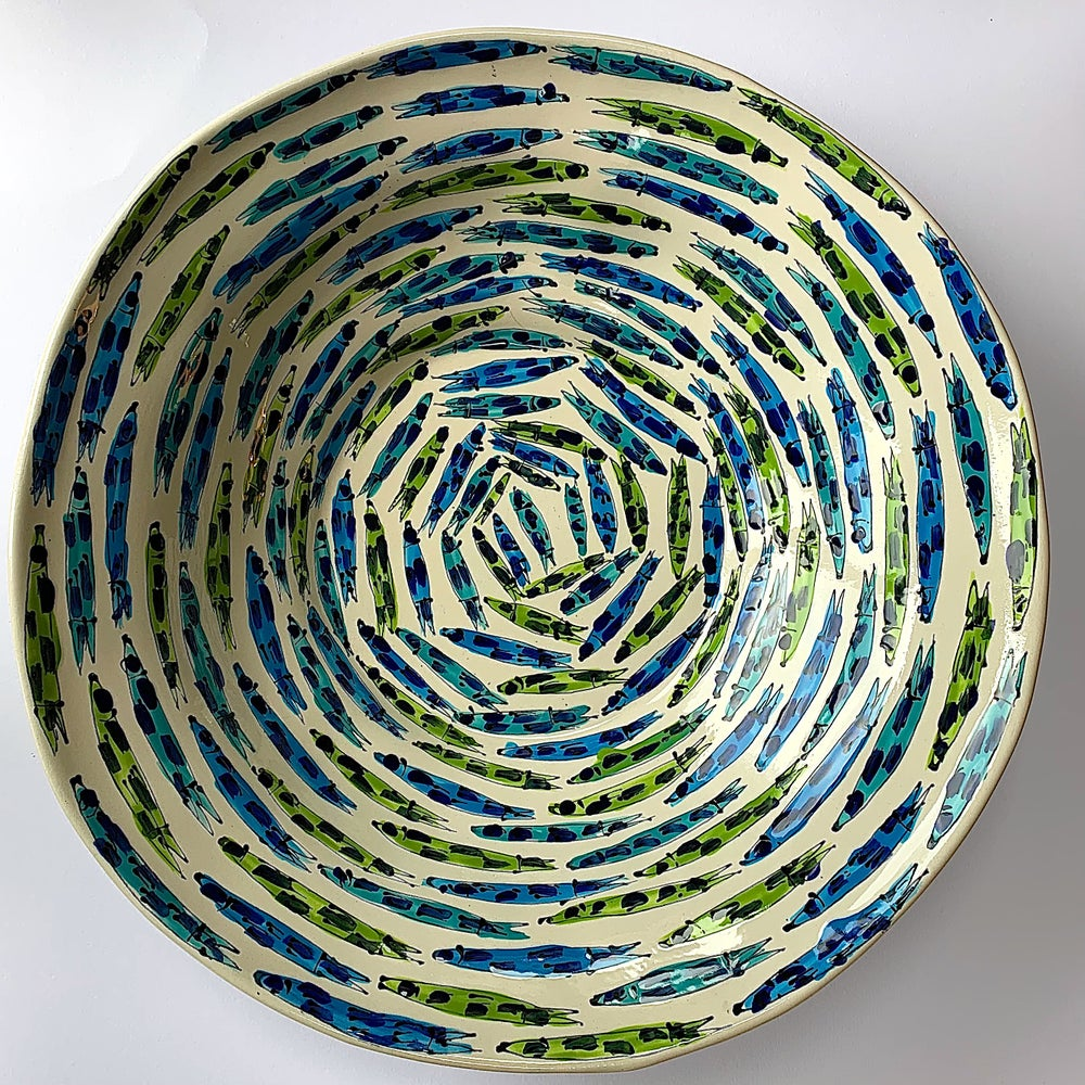 Image of Peasantware Bowl with Small Fish Design- PE1