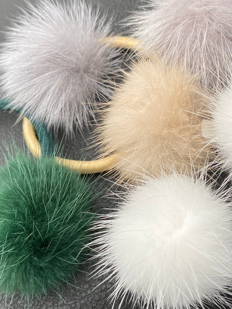 Image of Small fur pom hair bobbles and clips (small)