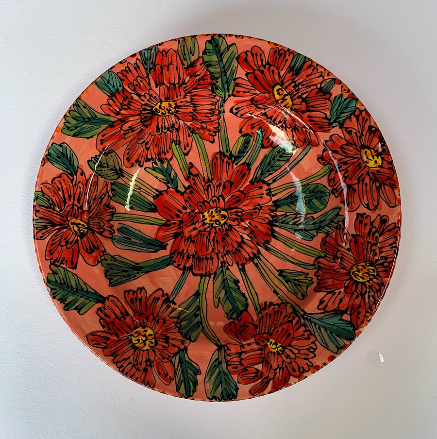 Image of Red Roses on Pink Rimmed Pasta Bowl- RP1