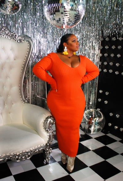 Image of Orange Ribbed Midi