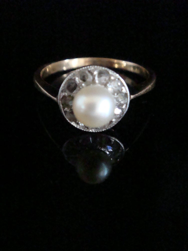 Image of Edwardian 18ct yellow gold platinum rose cut diamond and cultured pearl halo cluster ring
