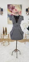 Plunge Neck Stripe Dress