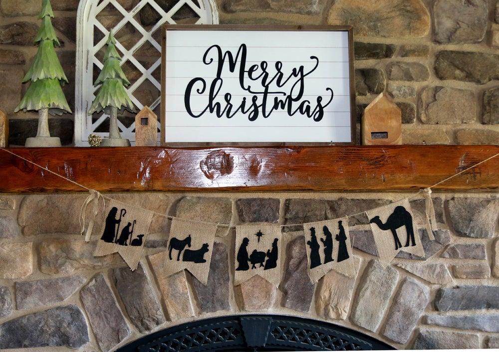 Image of Rustic Farmhouse Burlap Nativity & O Holy Night Banners {Free Ship}