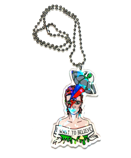Image of Bowie In Space Ball Chain Necklace