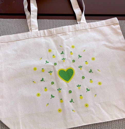 Image of Green Heart Canvas Tote Bag