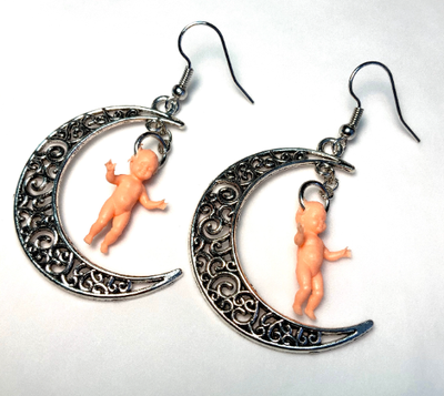 Image of Crescent Moon Baby Earrings