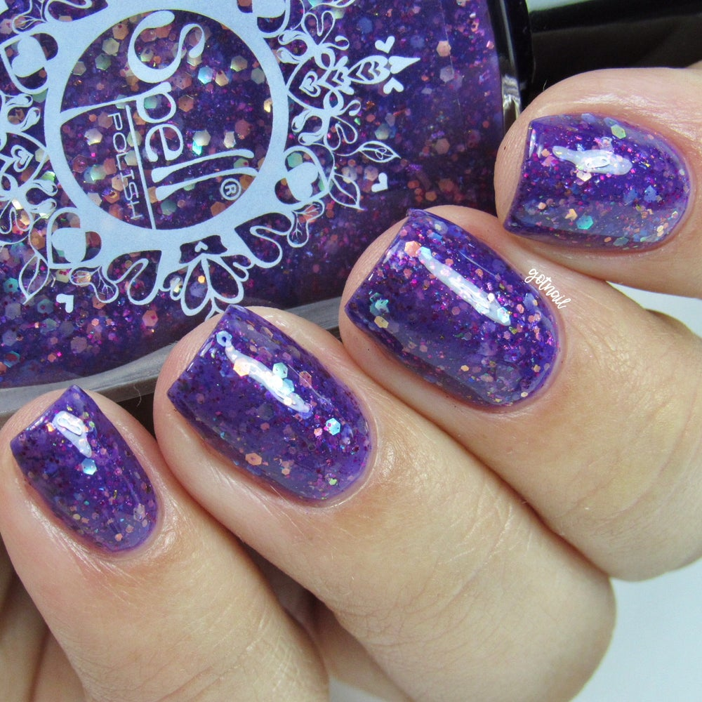 Image of ~Witching Eyes~ purple jelly packed w/pink & opal glitters and multichrome flakes!
