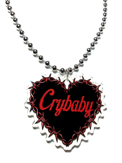 Image of Crybaby Barbed Wire Heart Ball-Chain Necklace
