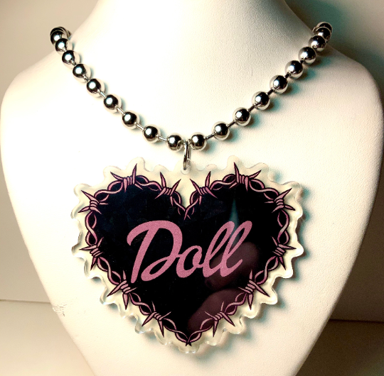 Image of DOLL Barbed Wire Heard Ball-Chain Necklace